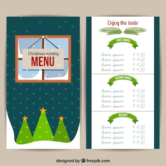 Nice christmas menu in flat design