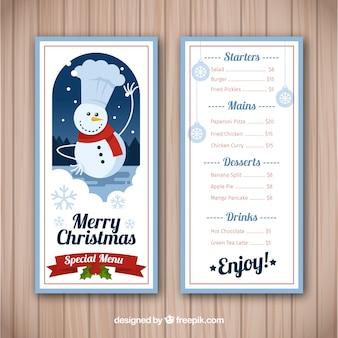 Красивое рождественское меню с снеговиком