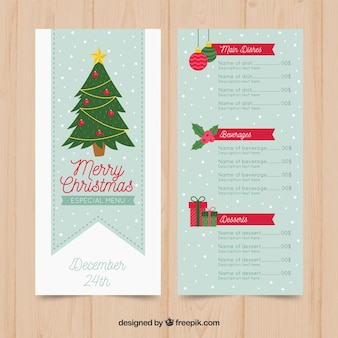 Nice christmas menu with tree