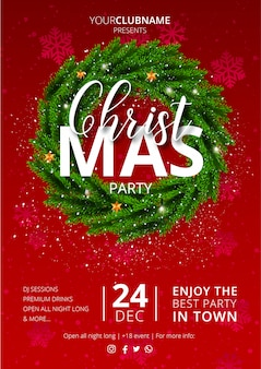 Nice christmas party poster with red