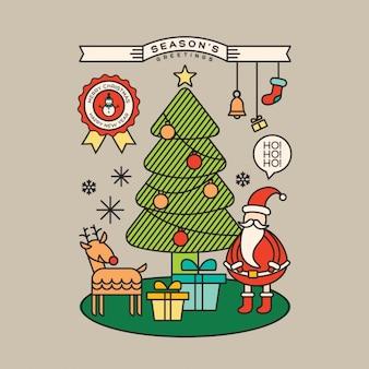 Красочные елки санта-клауса мультфильм иллюстрации в стиле наброски