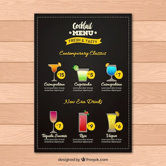 Красивый шаблон меню коктейлей