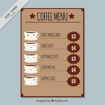 Nice coffee menu in flat design