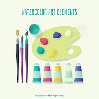 Хорошая коллекция художественных материалов окрашены акварельными красками
