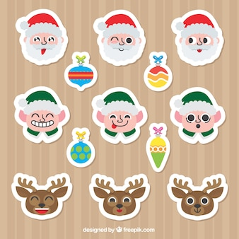 Nice colorful stickers with christmas characters