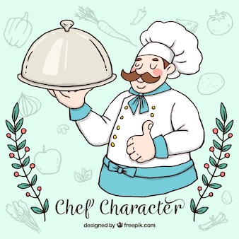Хороший повар ручной рисованной с вкусным меню