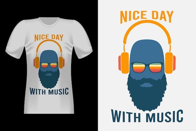 音楽の手描きスタイルのヴィンテージtシャツのデザインで素敵な日