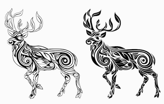 Nice deer floral ornament decoration