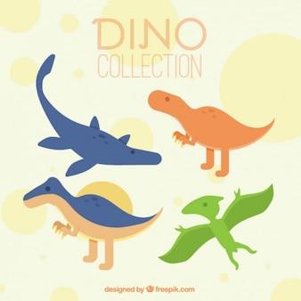 Хорошие динозавры установлены в цветах