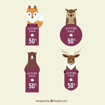 숲 동물과 좋은 할인 스티커