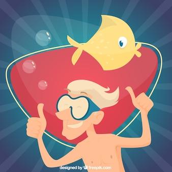 Хороший дайвер с милой фоне рыбы
