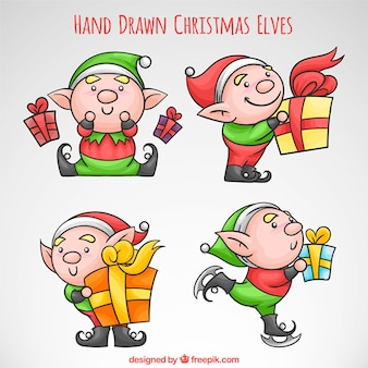 Nice elves hand drawn with gifts