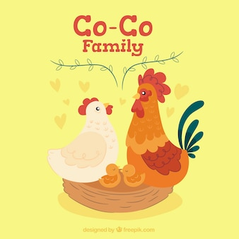 Хорошая семья фон с птенцами