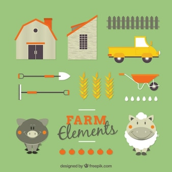 Nice farm animals and accessories in flat design
