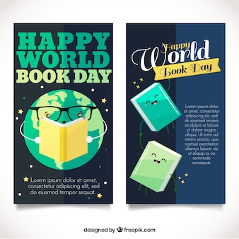 世界の本の日のための素敵なフラットバナー