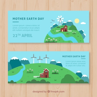Nice flat banners for the world earth day