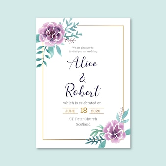 Nice floral wedding invitation