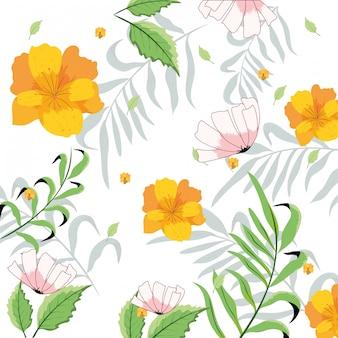 Красивые цветы с экзотическими ветвями листьев