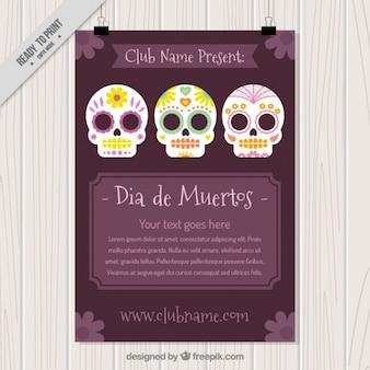 Хороший флаер с тремя черепами и фиолетовый фон