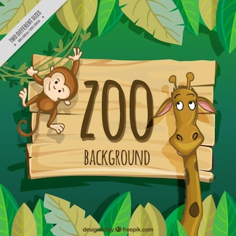 Nice giraffe and monkey zoo background