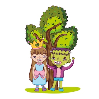 Nice girl and boy with cute costumes and tree