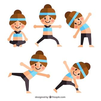 Симпатичная девушка делает йогу в плоской конструкции