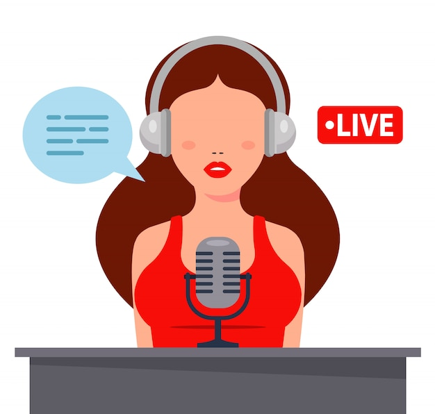 Nice girl in headphones records podcast on a microphone. flat character  illustration