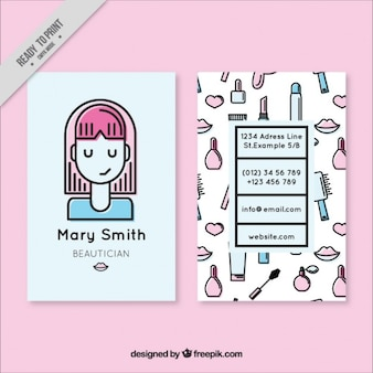 Nice girl and sketches elements beautician card