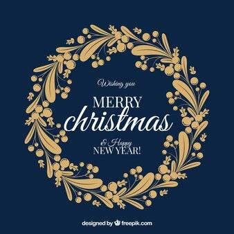 Nice golden christmas wreath
