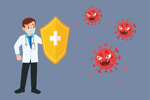 Красивый красивый молодой врач держит щит и борется с вирусом