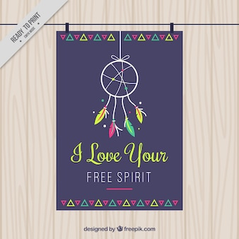 Nice greeting card with dreamcatcher