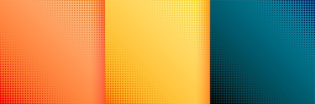 Nice halftone wallpaper background set of three