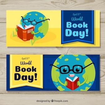 世界の本の日のための素敵な手描きのバナー