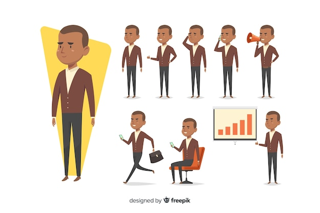 Nice hand drawn businessman doing different actions
