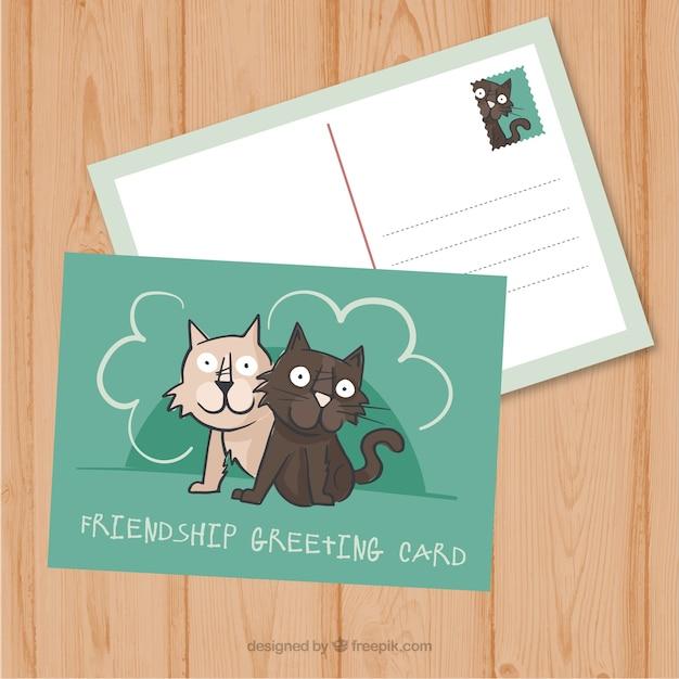 Nice рисованной кошки дружба открытку
