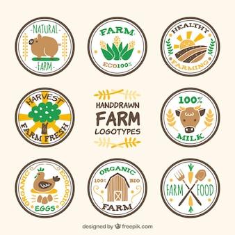 ニース手描きの円形農場のロゴタイプはパック