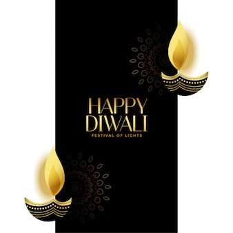 Nice happy diwali black and gold background