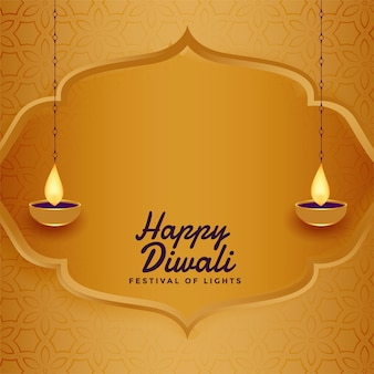 Nice happy diwali golden greeting card