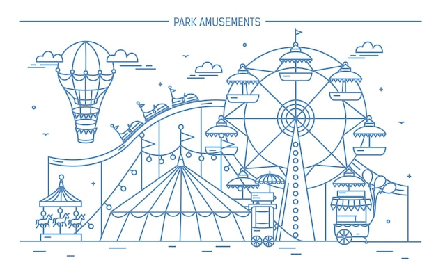 Nice horizontal banner of amusement park