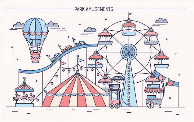 Nice horizontal illustration of amusement park. circus, ferris wheel, attractions, side view with aerostat in air. colorful line art vector illustration.