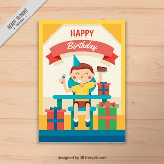 Nice kid celebriting his birthday card