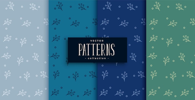 Nice leaves seamless pattern set in various nature colors