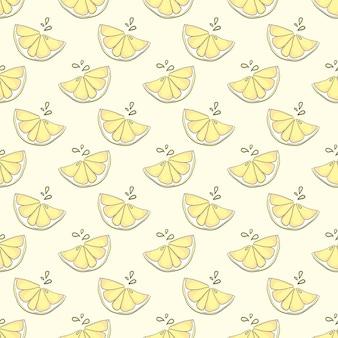 黄色の背景に素敵なレモンのシームレス パターン
