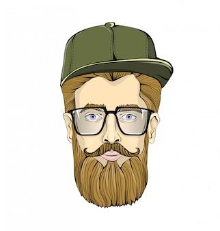 ひげと口ひげが白い背景の上の緑の帽子をかぶっているメガネで見栄えの良い男。ヒップスターがあなたを見つめます。頭のグラフィックイメージ。図。