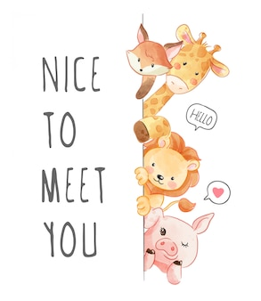 Nice to meet you slogan with animals friend illustration