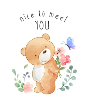 Nice to meet you slogan with bear and butterfly illustration