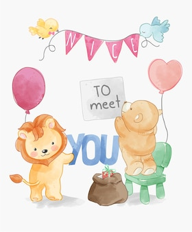 Nice to meet you with cute animals party decoration illustration