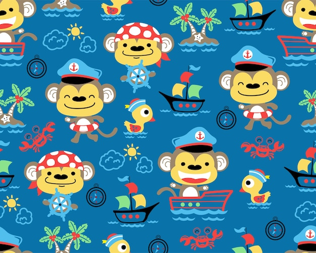 Nice monkeys cartoon on seamless pattern vector