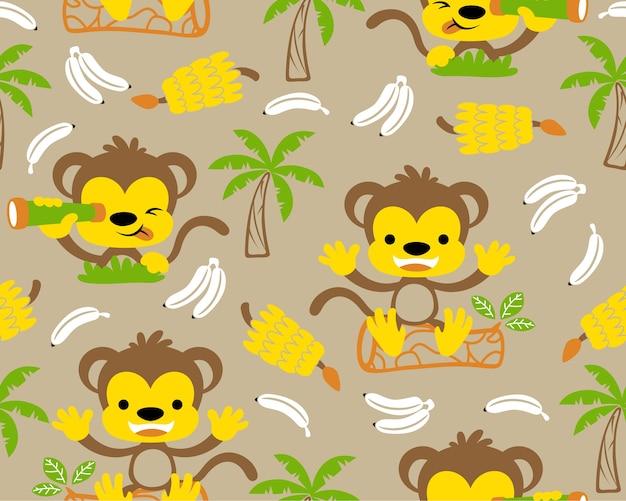 Nice monkeys cartoon with banana on seamless pattern vector