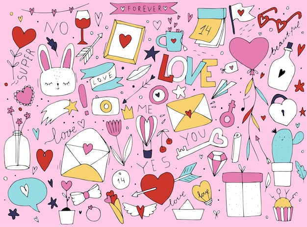 Симпатичный разноцветный рисунок, раскрашенный яркими красками на день всех влюбленных